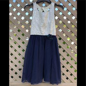 NWT Girls Emily West Blue/Beige Dress Size 14
